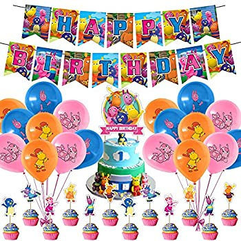 Cute Backyardigans Party Decoraions Backyardigans Theme Birthday Party Supplies for Kids Adults with Happy Birthday Banner Cake Topper Cupcake Toppers Balloons