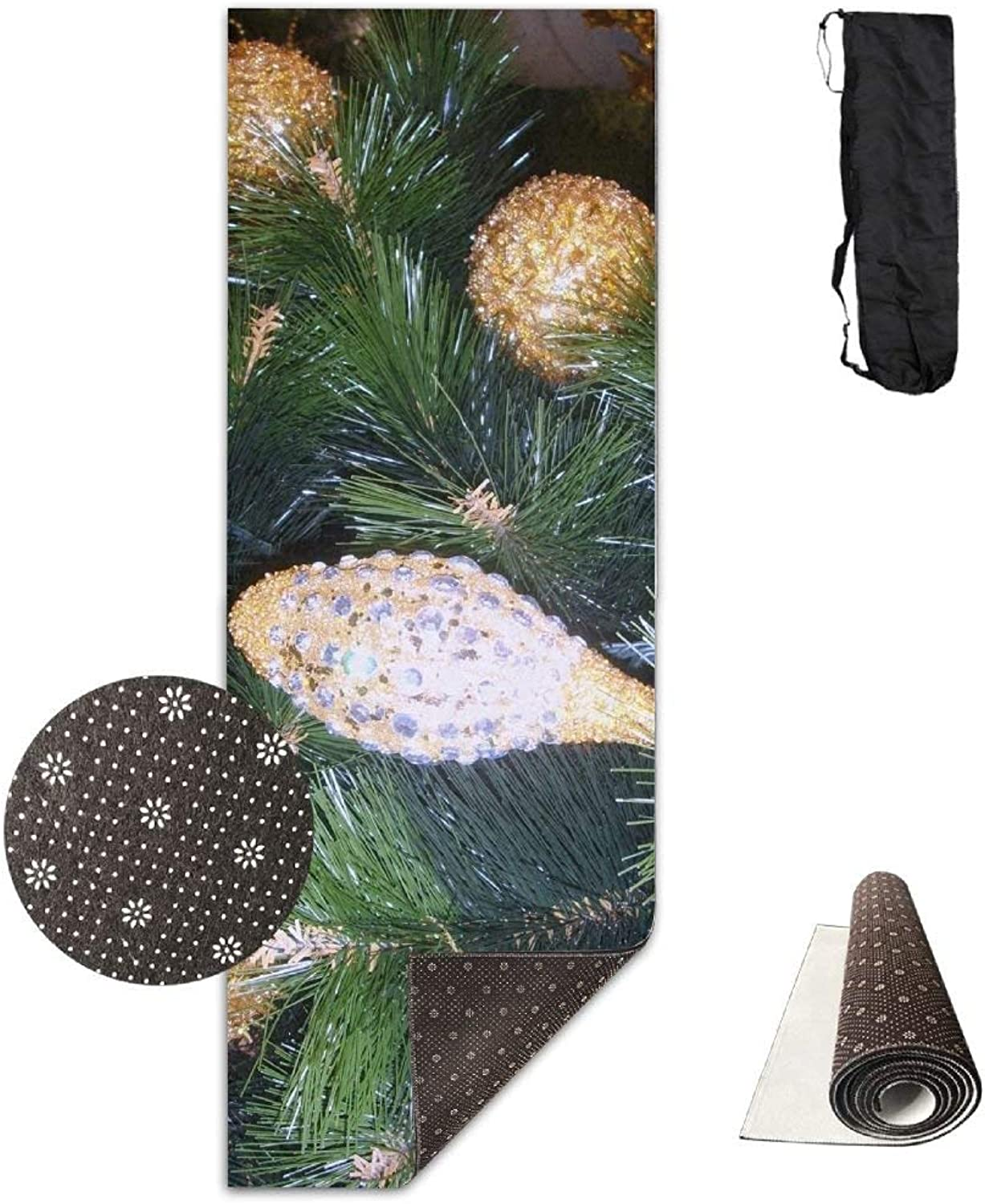 Christmas Decorations Ornaments gold Needles Closeup ECO Aqua Power Kinematic Iyengar Kundini Hot Pilates Gymnastics Hatha Yoga Mat and Other Mats That Need to Be Performed On The Ground