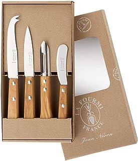 El estuche kraft de 4 cuchillos de cocina la hormiga mango de olivo: 1 unidad, un pelador, un cuchillo para queso, un cuchillo de oficio de 9 cm.