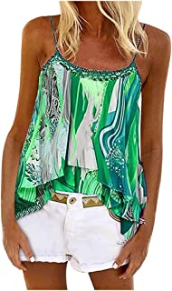 Holzkary Women's Camisole Strappy Tie-dye Print Tank Tops Casual Sleeveless Layered Shirt Blouse