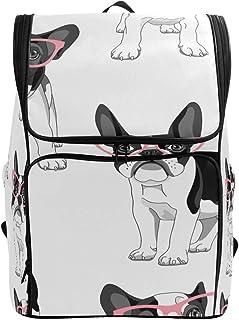 MONTOJ Bulldog con Gafas al Aire Libre Senderismo Mochila de Senderismo y Viaje Mochila con Compartimento para portátil y Mochila de Camping
