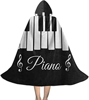 Ernest Congreve Clokes with Hoods for Kids Black Piano Keyboard Music Note Hooded Cape for Halloween Costumes Riding Cosplay