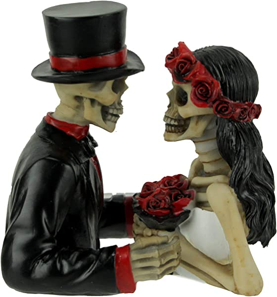 World Of Wonders Eternally Yours Deathly Devotion Skeleton Bride And Groom Statue Set