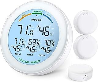 Brifit Termometro Igrometro Digitale con 3 Sensori, Termometro Wireless Interno Esterno con Retroilluminazione LCD, Displa...