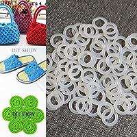 WellieSTR 210ピース 25mm ミニ DIY かぎ針編みリング プラスチックリング Oプラスチックリング サークルフック プラスチッククラフトツール ハンドバッグ カーシート用