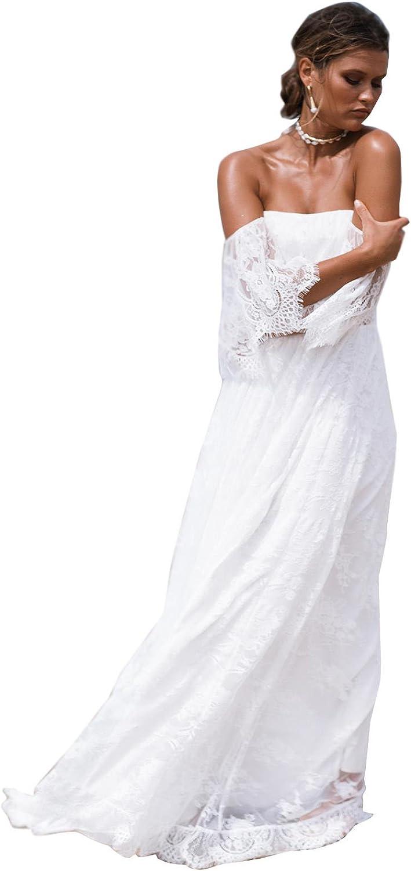 Yeoyaw Women's Off Shoulder Long Lace Elegant Mermaid Evening Party Wedding Beach Dress