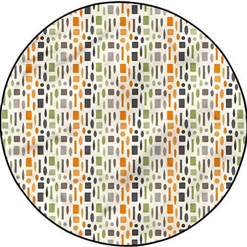 Colorful Geometric Pattern Rug Washable Non-Skid Bath Mat Ecliptic Shapes Squares Diameter 67 in(170cm)