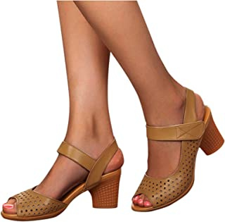 Pantoffels met hoge hakken, sexy open teen, holle kruisband, gesloten pumps, ronde neus, brede hak, sandalen, riempjessand...