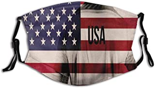 Face mask reusable American Flag Soccer Player Print Balaclava Unisex Reusable Windproof Anti-Dust Mouth Bandanas Made in USA