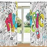 MyDaily Music Graffiti Print Sheer Gardine 2 Panels 139,7 x 198,1 cm Stangentasche Transparent Vorhänge für Wohnzimmer Schlafzimmer Decor, Polyester, Multi, 55' x 84' Each Panel