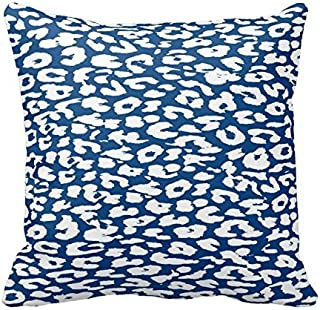 Little Dreams Blue and White Leopard Animal Print Decorative Square Throw Pillow Cover Cushion Case Zippered 18X18 Inch Two Sides
