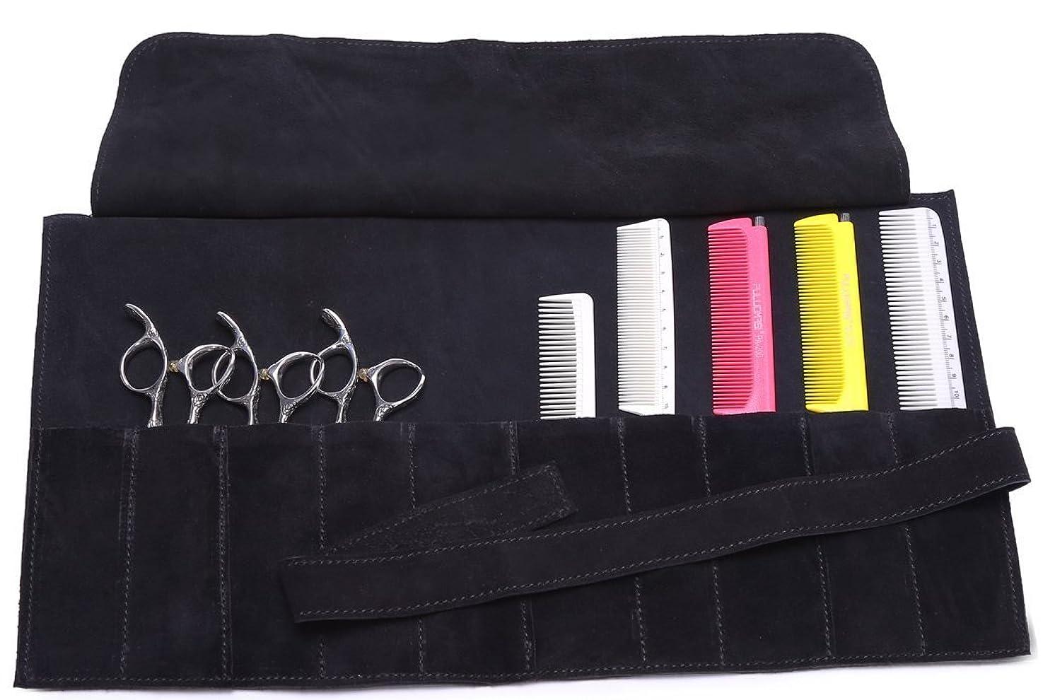 登山家肉のコモランマヘア用具バッグ、床屋、スタイリストハサミポーチ 革ヌバック9ポケット 黒