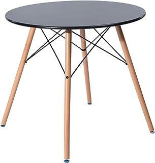 HomyCasa 80CM Dining Round Table Modern Retro Desk with Beech Wood Legs Black