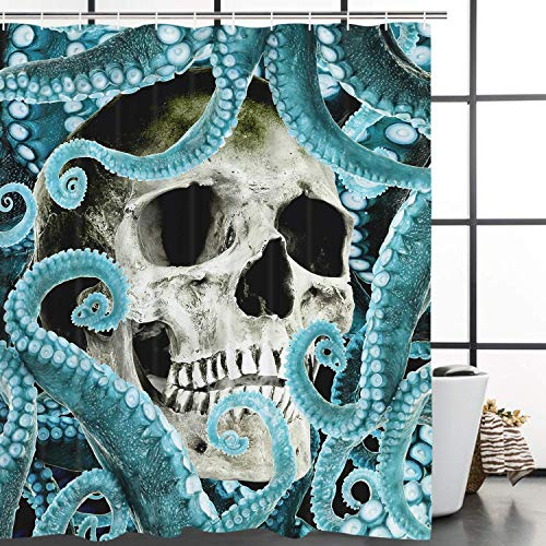 /N Tentacle and Skeleton Shower Curtain with 12 Curtain Hooks Funny Horror Octopus Bath Curtain Durable Mildew Resistant Turquoise Bath Curtains