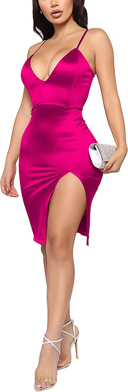 Women Satin Midi Sexy Dress Spaghetti Strap Backless Bodycon Side Split Drawstring Ruched Evening Party Night Dresses