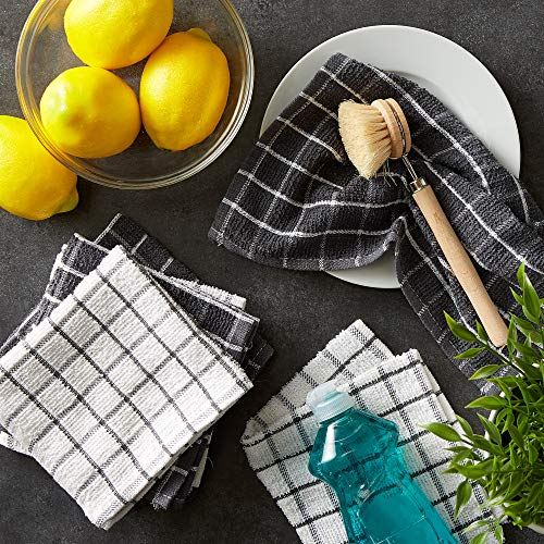 DII Terry Combo Windowpane Dishcloths Absorbant, Multi-Use, Fast Drying and Machine Washable, 12x12