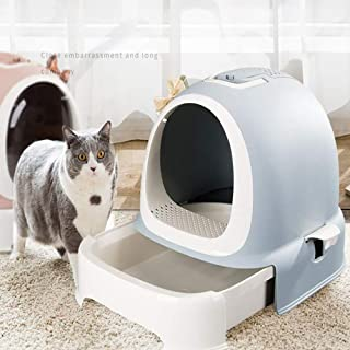 FXQIN Ultra Self-Cleaning Cat Litter Box, Covered, Plastic Sandbox with Drawer,Anti-Splashing Cat Dog Supplies,3 Color Options,Gray