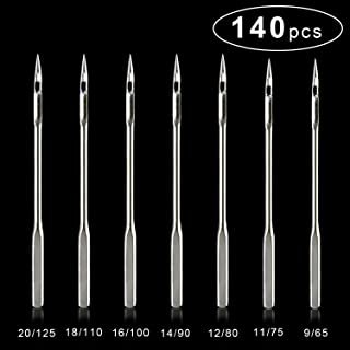 140 Count 7 Sizes Home Sewing Machine Needles, Universal Regular Point for Assorted Embroidery, DIY Making Accessories Crafts, 20 Pieces Per Size