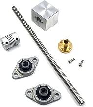 Ewead,200mm Length 8mm Dia Silver Vertical 2mm Lead Screw Rod & Pillow Block Mounted Bearing T8 Lead Screw Kit for 3D Printer Set of 6