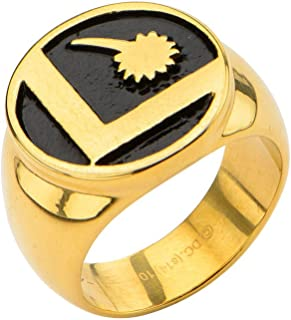 DC Comics Men's Stainless Steel IP Gold Legion of Super Heroes Ring