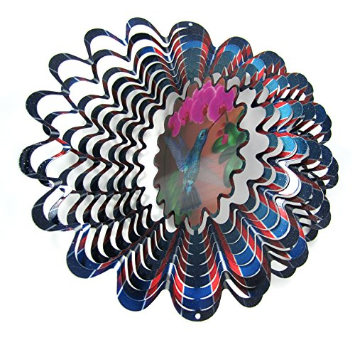 WorldaWhirl Whirligig 3D Wind Spinner Hand Painted Stainless Steel Twister Hummingbird (12' Inch, Multi Color Animated Holographic)