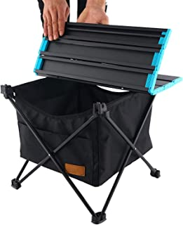 Huoutspor Folding Camping Table with Storage Bag, Portable Collapsible Aluminium Picnic Table with Waterproof Hanging Pock...