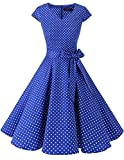 DRESSTELLS Mujer Vestido Corto Mujer Retro Años 50 Vintage Vestido de Cóctel Royal Blue Small White ...