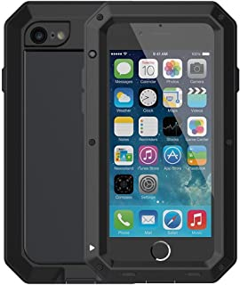 iPhone 6 Plus/6S Plus Case,Mangix Built-in Glass Aluminum Alloy Protective Metal Extreme Shockproof Military Bumper Finger Scanner Cover Shell Case for Apple iPhone 6 Plus/6S Plus 5.5inch (Black)