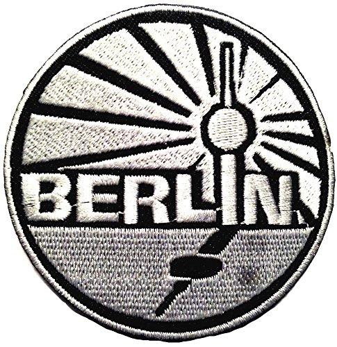 Bügel Flagge Berlin Deutschland Aufnäher Patch Applikation Bestickt Funkturm schwarz Silber