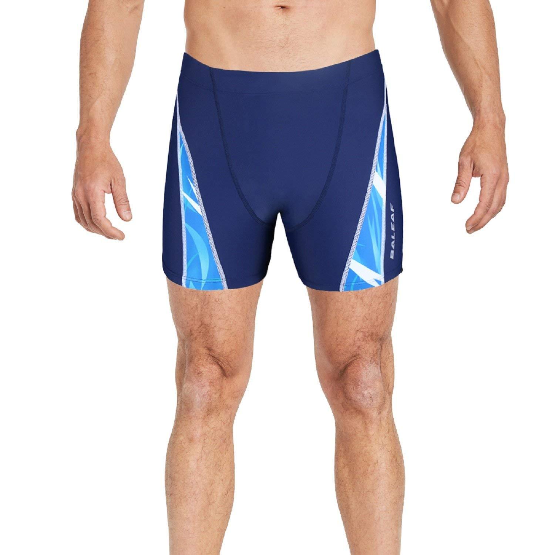 BALEAF Mens Athletic Swim Jammers Quick Dry Compression Square Leg Swim Brief Swimsuit