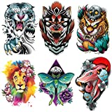 Oottati 6 Sheets Temporary Tattoo Arm Shoulder Fierce Roar Hound Tiger Snake Lion Butterfly Body Art Real Large Tatoos