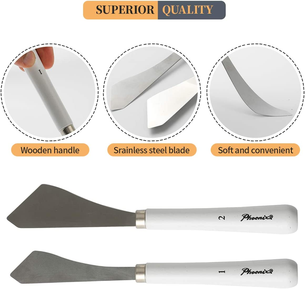 2pcs Painting Knife - Two Palette Knives - Thin and Flexible Art Tools for Oil Painting, Acrylic Mixing, Etc.