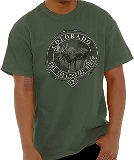 Colorado Centennial State Mountain Moose T Shirt Tee