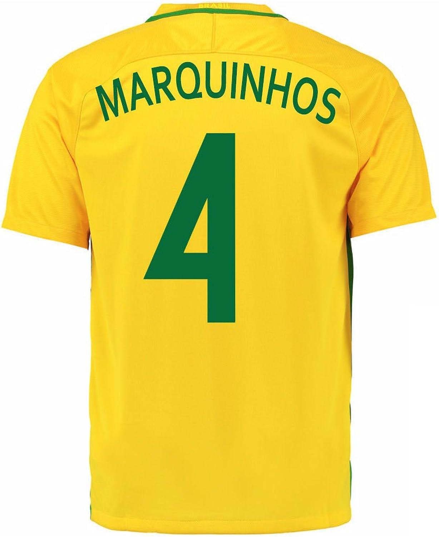 Nike Marquinhos  4 Brazil Home Soccer Jersey Rio 2016 Olympics (2XL)