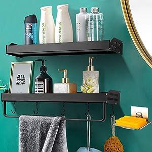 3-Pack Shower Caddy Corner with Soap Dish Holder Bathroom Shower Organizer Hanging Shower Shelf with Shower Rack Kitchen Storage Basket No Drilling Adhesive Aluminum Wall Mounted Bathroom Shelf