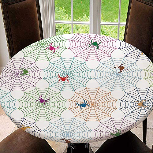 SUPNON Outdoor Tablecloth Waterproof Spillproof Polyester Table Cover Spider Web,Colorful Networks and Characters for Patio Garden Tabletop Decor AM05214 Fit for 55'-59' Table