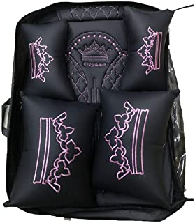 OUTOS Luxury Auto Car Seat Covers 5 Seats Full Set Universal Fit (Luxurious Black-Pink with Queen Logo)