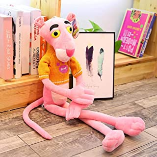 Big Size Lovely Pink Panther Action Figure Plush Toys Stuffed Cute Pink Panther with Sweater Kids Children Doll Birthday Gifts Orange 55cm
