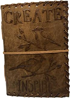 Anshika International Pure Genuine Real Hunter Leather Handmadepaper Notebook Diary with Engraved `Embossed Birds Diary fo...