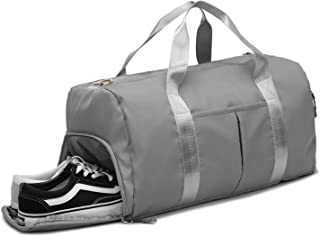 Miomao Gym Bag for Women Men Sports Travel Duffel Bag with Shoes Compartment and Wet Pocket Weekender Bag Grey