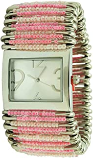 Women's Pastel Pink Safety Pin Watch Rectangular Silver Case
