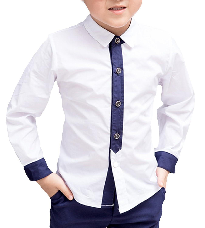 (コ-ランド) Co-land 子供 ワイシャツ フォーマル シャツ 長袖 卒業式 結婚式 発表会 男の子 ボーイーズ 学生 ホワイト