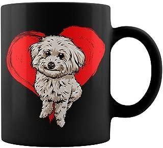 Ceramic Black Mug Poochon Love 11oz Funny Gift Mug For Teacher Home Decoration Funny