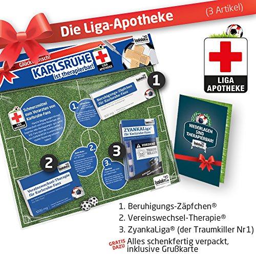 Geschenk-Set: Die Liga-Apotheke für KSC-Fans | 3X süße Schmerzmittel für Karlsruhe Fans | Die besten Fanartikel der Liga, Besser als Trikot, Home Away, Saison 18/19 Jersey