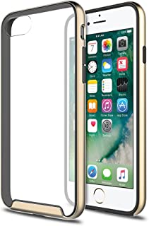 iPhone 7 Case, XDesign [Inception Series] Premium Stylish TPU Bumper + Scratch Resistant Clear Transparent Protective Hard Back Panel for Apple iPhone 7 (2016) - [Champion Gold / Clear]
