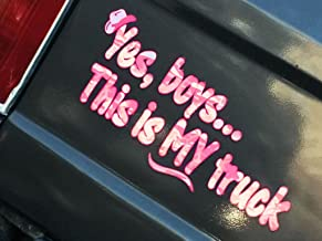 Yes Boys... this is MY Truck - Pink Camo - w/hat - car truck 4x4 window body tailgate decal sticker