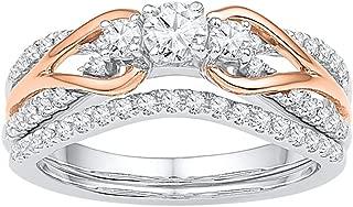 Three Stone Diamond Engagement Ring & Wedding Band Set 14k White Rose Gold Solitaire Bridal Set 5/8 ctw