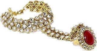 Zaveri Pearls Strand Bracelet for Women (Golden) (ZPFK8710)