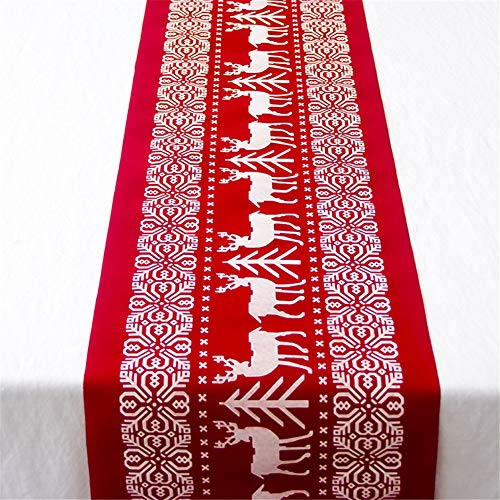 Morbuy Runner da Tavola di Natale Tovaglia Decorativa in Lino Decorazioni per La Casa per La Cena di Natale Table Runner Tavolo Panno (28 * 270cm,Alci dell'albero di Natale)