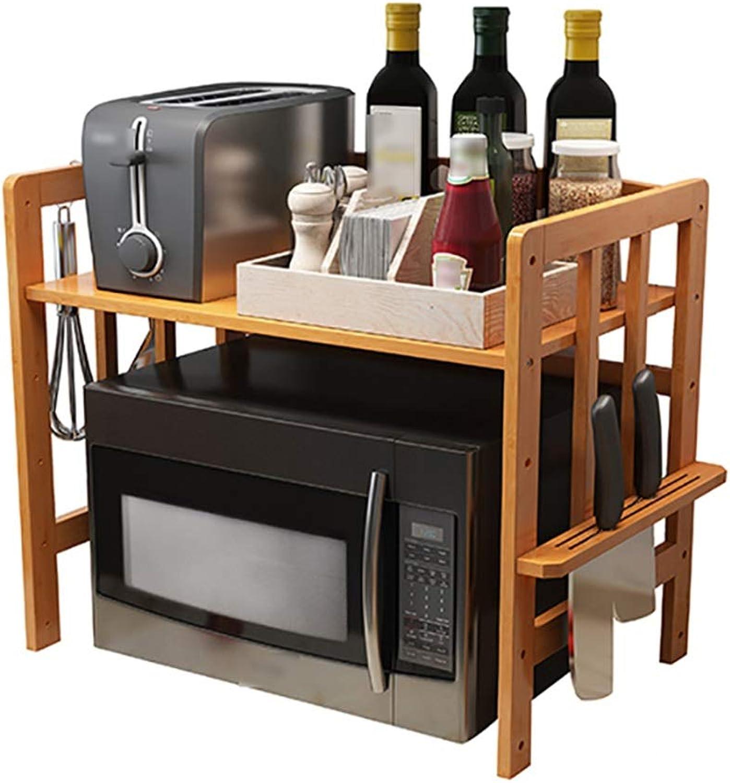 LXLA- Kitchen Shelves Storage Pot Rack Microwave Shelf Oven Utensils Floor-Standing 3-Tier Multilayer Wood (color   1 Layer, Size   53cm)